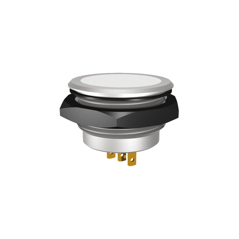LED-Meldeleuchte Ø30mm IP67 superflach zweifarbig, gem. Anode