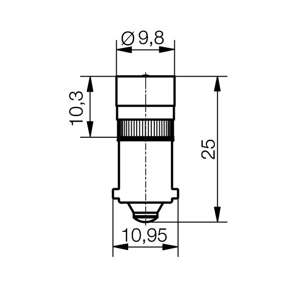 Single-LED Ø10 mm Sockel BA9s Einweggleichrichtung - plan