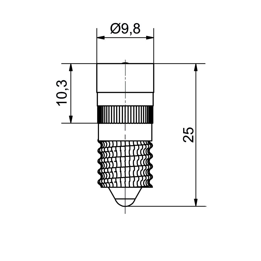 Single-LED Ø10 mm Sockel E10 - plan
