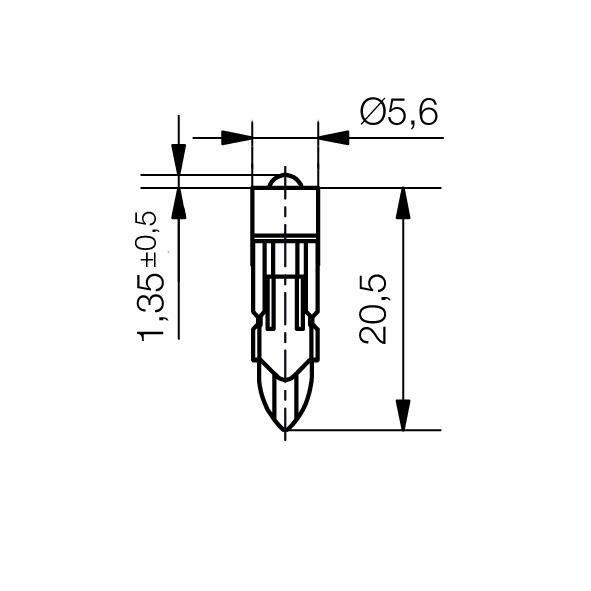 Single-LED-Lampe Sockel T5,5k Einweggleichrichtung - plan
