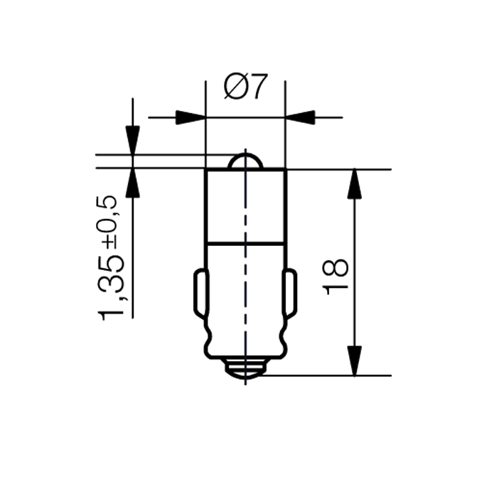 Single-LED Ø7mm Sockel BA7s Einweggleichrichtung - plan