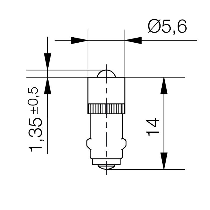 Single-LED-Lampe Sockel BA5s - plan