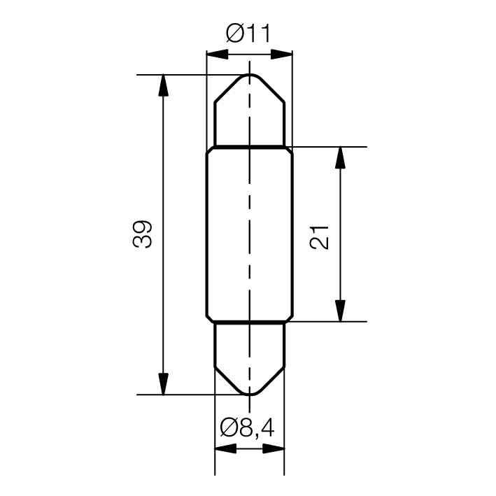 LED-Soffitten-Lampe Ø11x39mm - plan