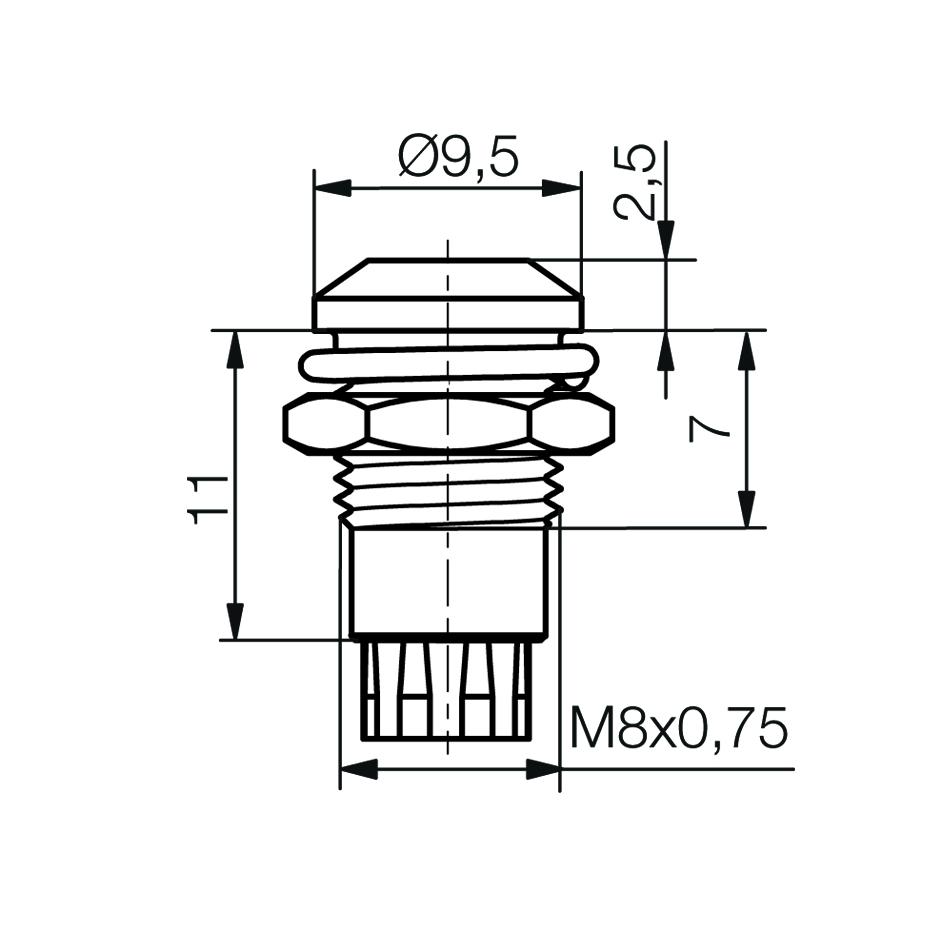 LED-Fassung für Ø5mm LEDs Außenreflektor - plan