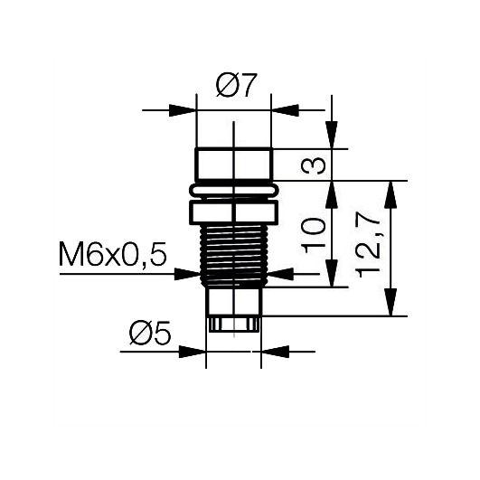 LED-Fassung für Ø3mm LEDs Innenreflektor Kopf zylindrisch - plan