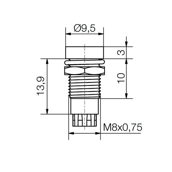 LED-Fassung für Ø5mm LEDs Innenreflektor Kopf zylindrisch - plan