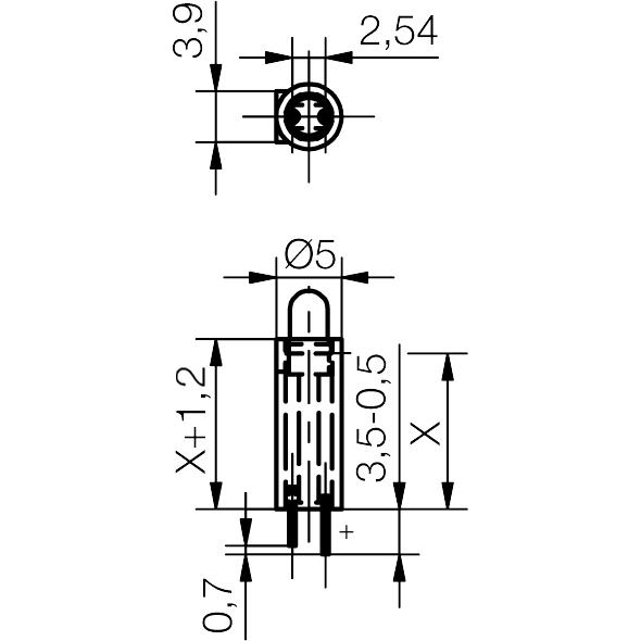 3mm LED mit Distanzhalter - plan