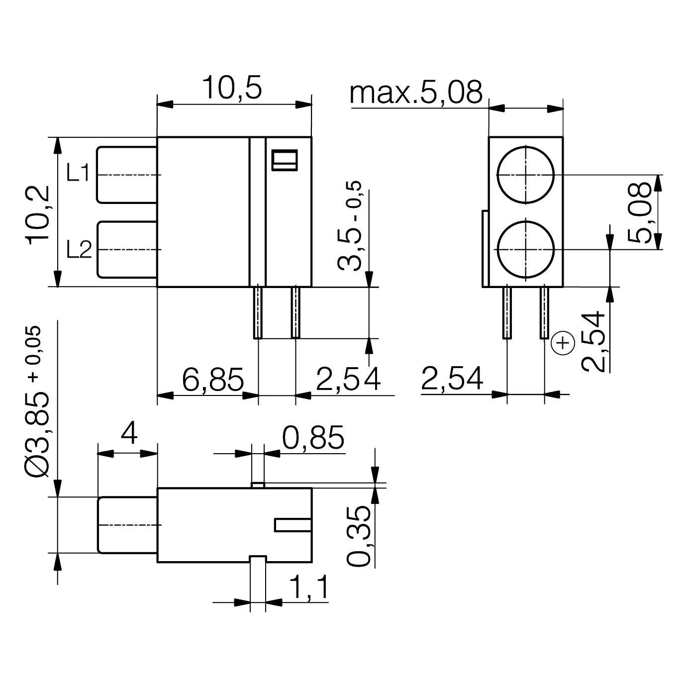ESD Line-LED-Baustein mit 3mm LED 2-fach - plan