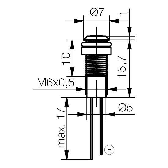 LED-Signalleuchte Ø6mm Innenreflektor, Plankopf-LED - plan