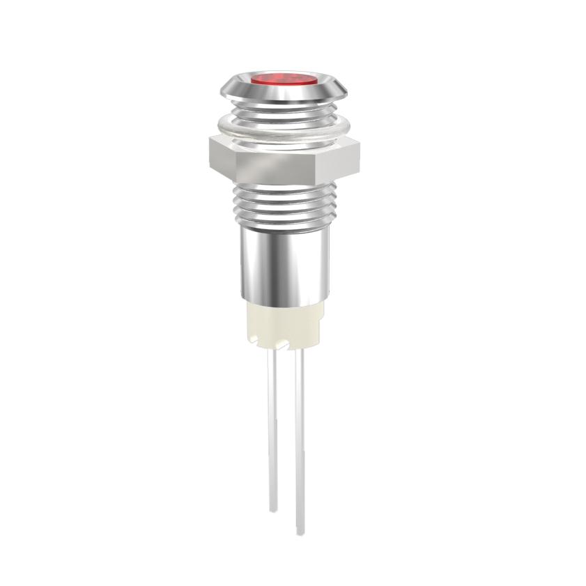 LED-Signalleuchte Ø8mm Innenreflektor, Plan-Kopf LED