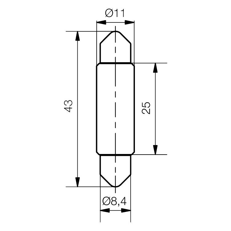 LED Soffitten-Lampe Ø11x43mm ultrahell - plan