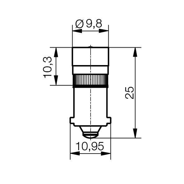 Single-LED Lamp  Ø9,8 mm Socket BA9s one-way rectifier - plan