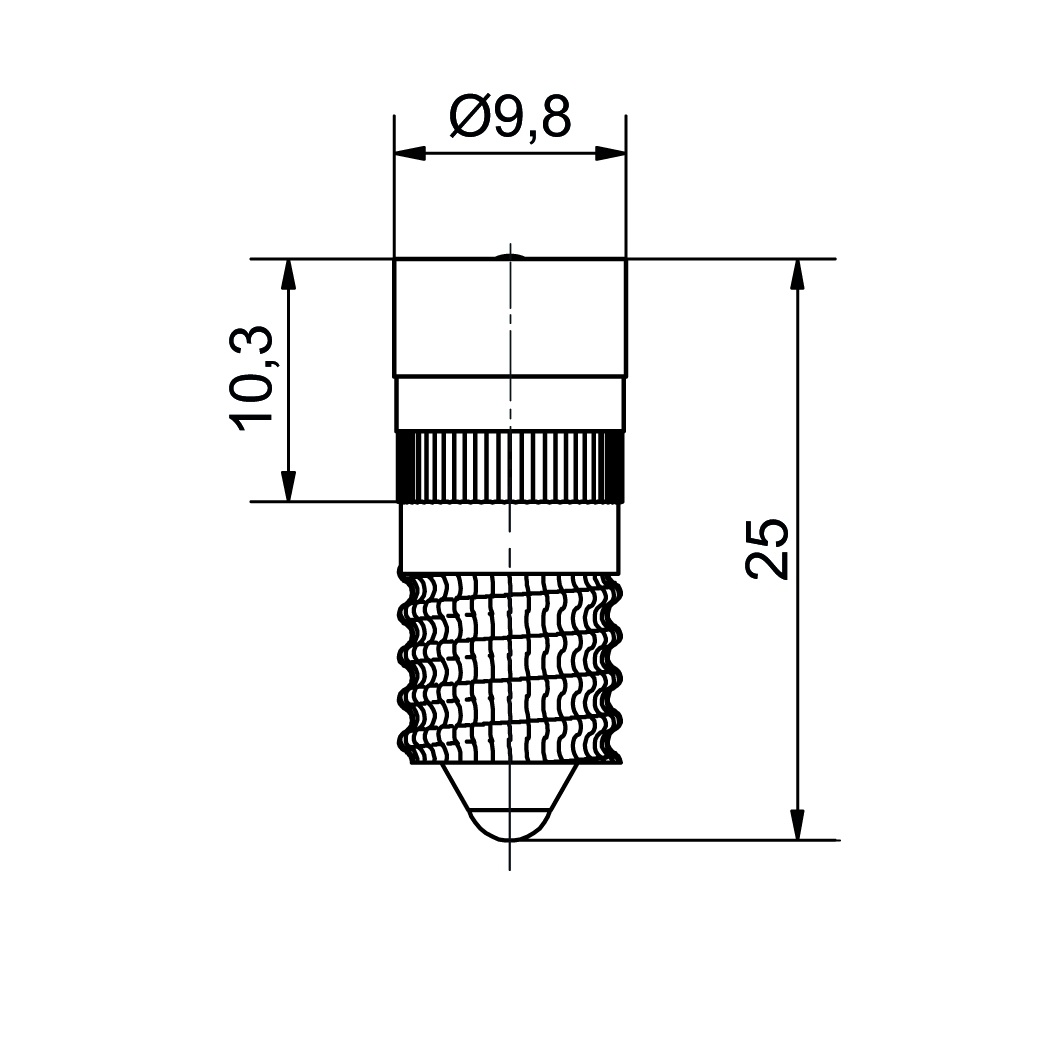 Single-LED Ø10 mm Sockel E10 - plan