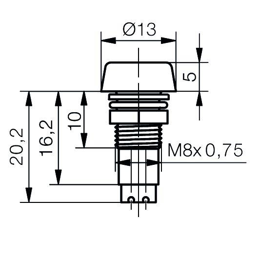 LED-Fassung für Ø5mm LEDs  IP67 mit Glasplatte - plan