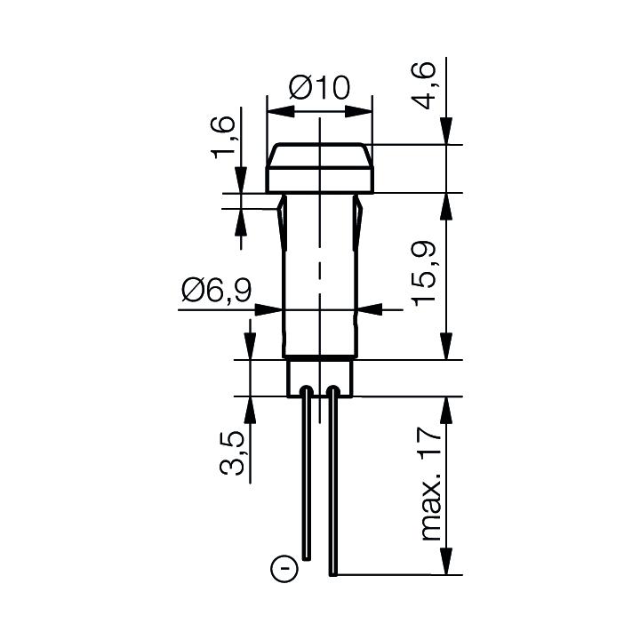 LED-Signalleuchte Ø7mm mit Blendenkopf - plan