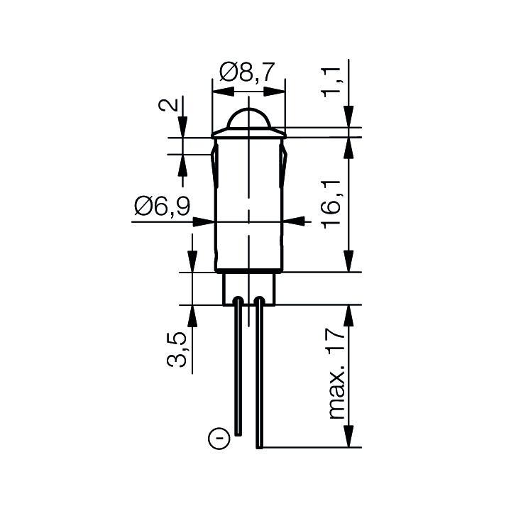LED-Signalleuchte Ø7mm Außenreflektor PC schwarz - plan