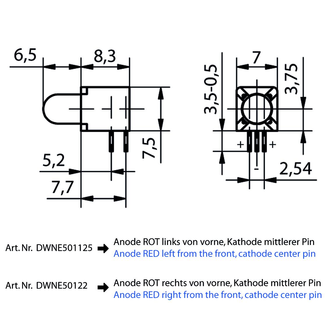LED-Baustein mit 5 mm LED - plan