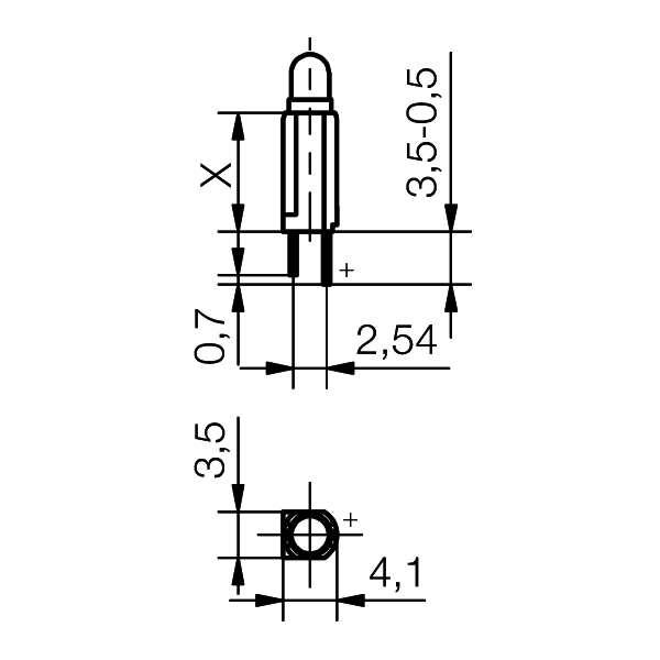LED-Halter mit ø3mm LED - plan
