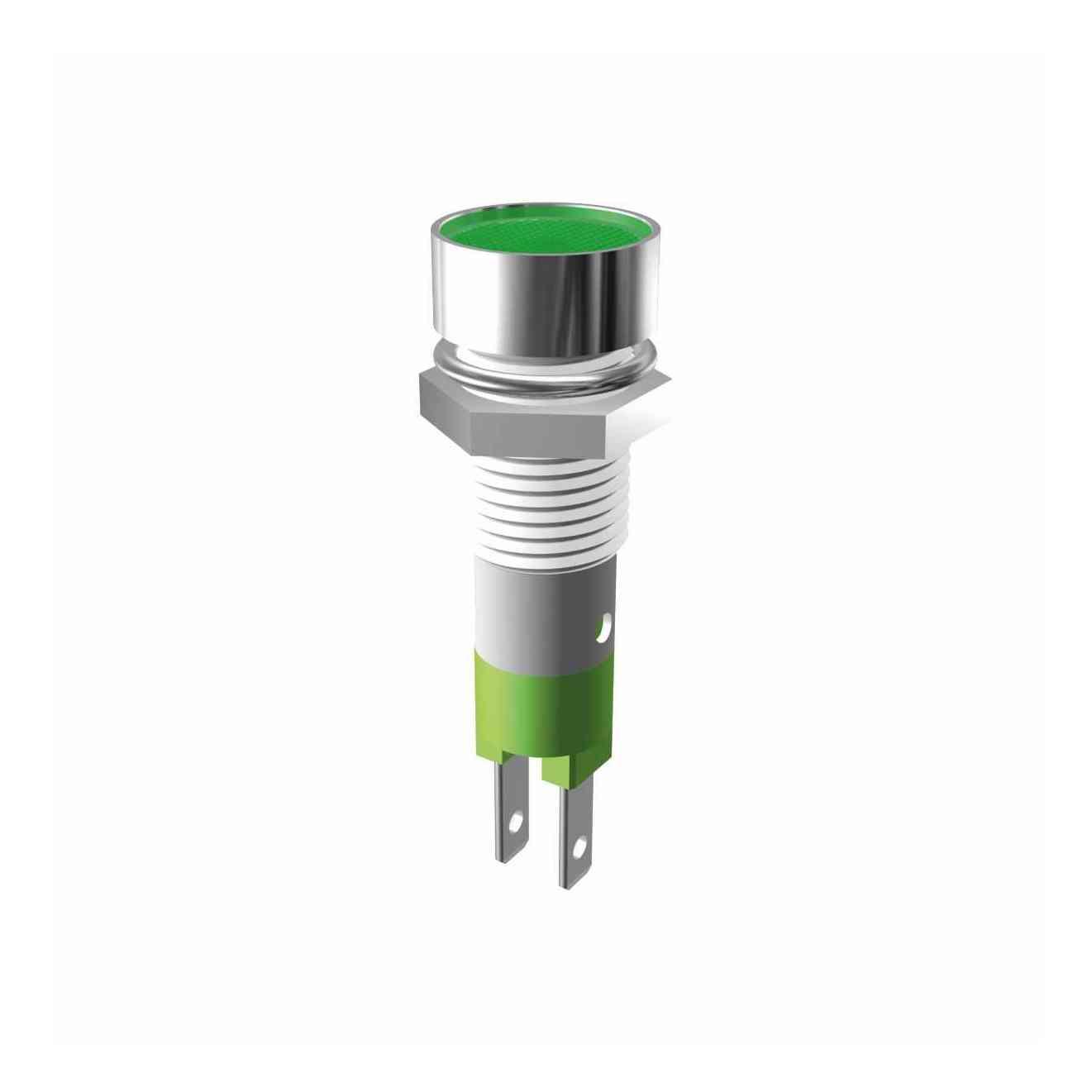 LED-Signalleuchte Ø8mm Innenreflektor Kopf zylindrisch mit Blendenplatte