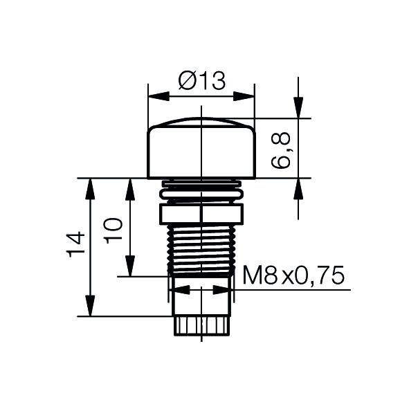LED-Fassung für Ø5mm LEDs mit optischer Linse  IP67 - plan
