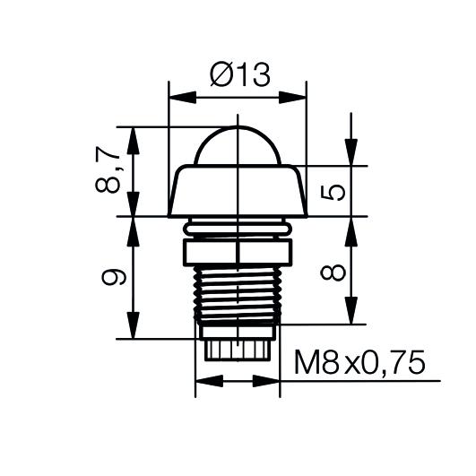 LED-Fassung für Ø5mm LEDs  IP67 mit Glaskuppe - plan