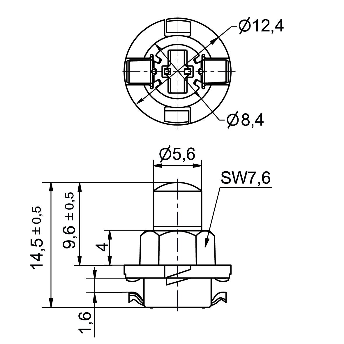 Multi-Look® LED Lampe AC/DC Sockel ähnlich B8.0-12 (EBSR/BAX) - plan