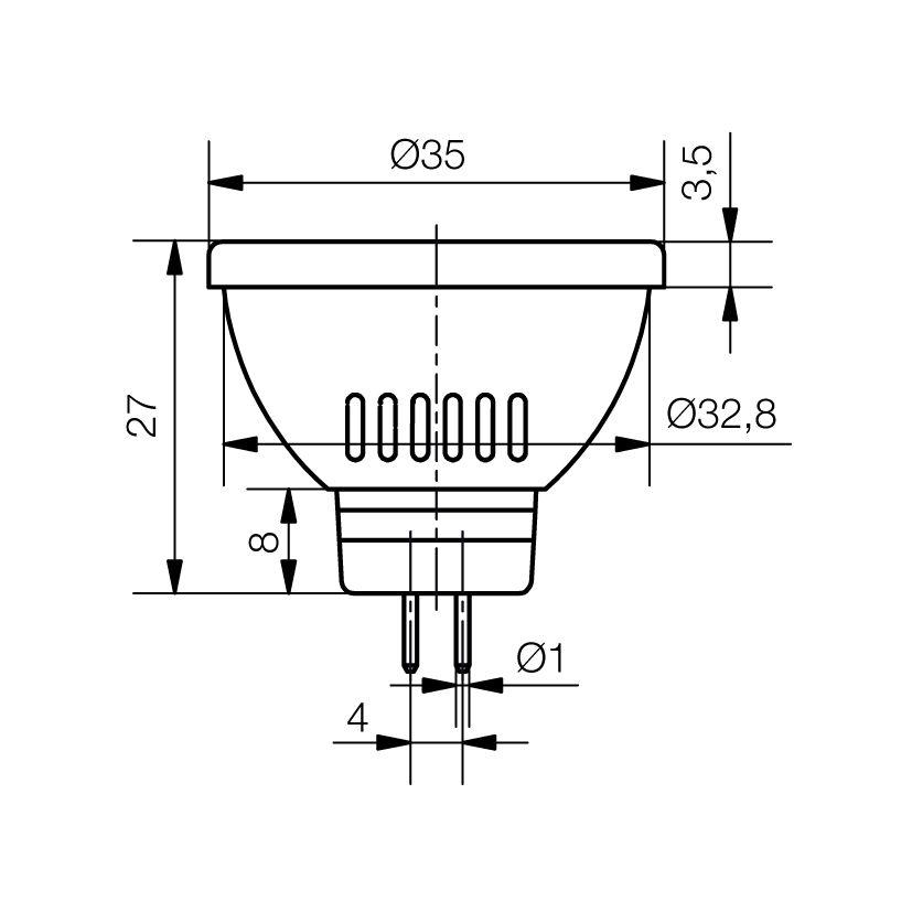 LED-Spot Ø35 mm Sockel GU4 - plan