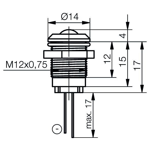 LED-Signalleuchte Ø12mm Innenreflektor - plan