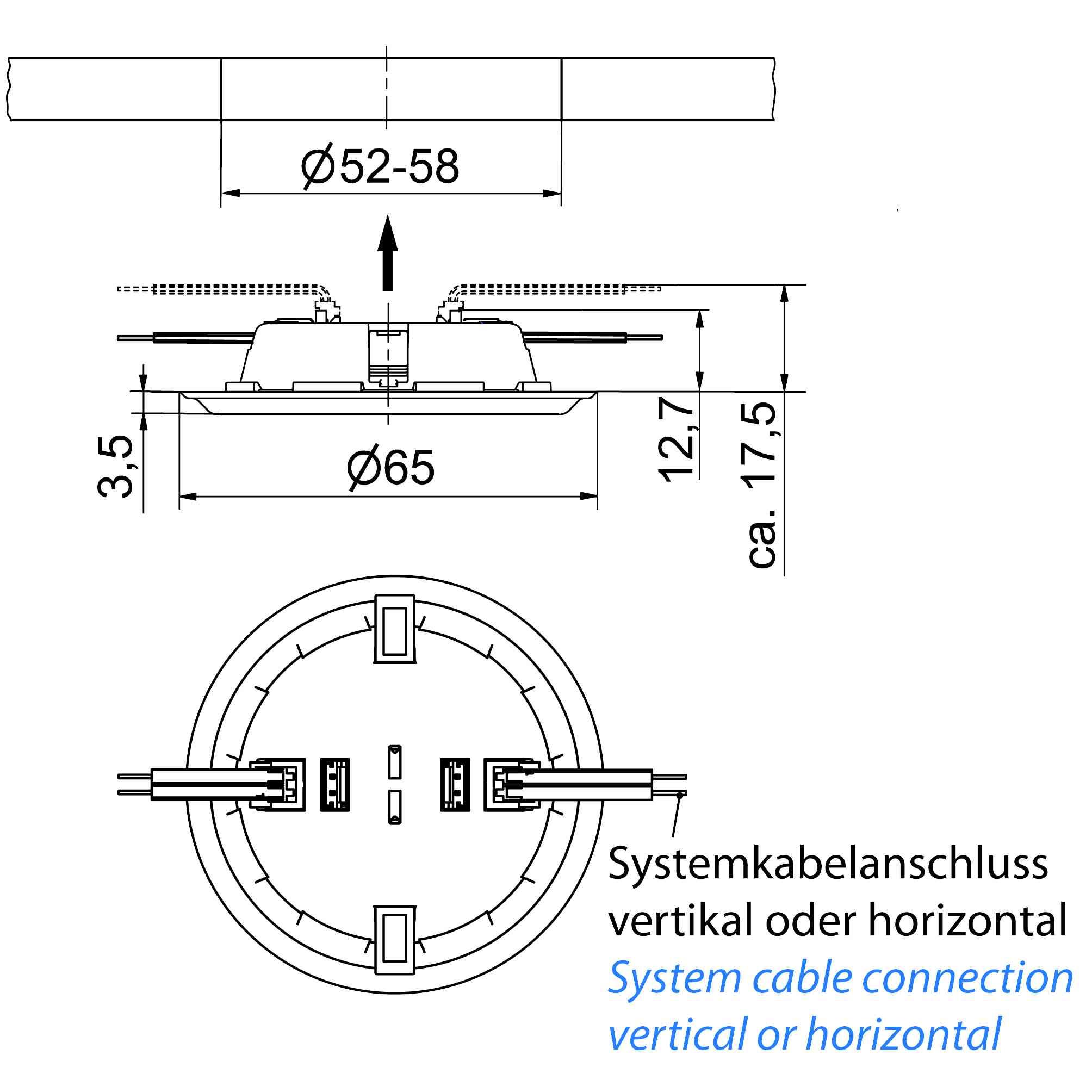 LED-Spot SiLuX® Plus mit farblos mattierter Leuchtfläche Einbau-Ø 52 - 58 mm - plan