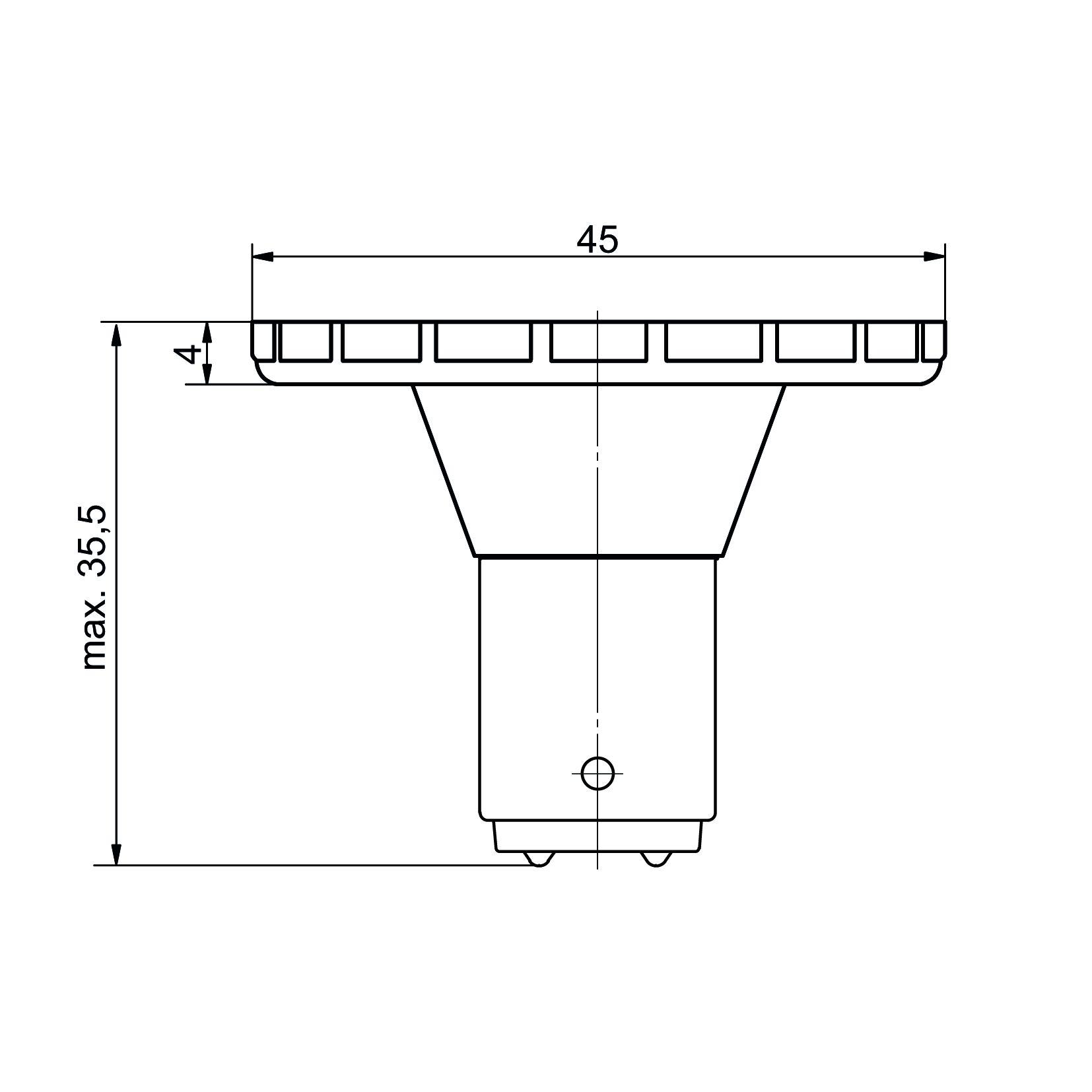 LED-Signallampe Sockel BA15d - plan
