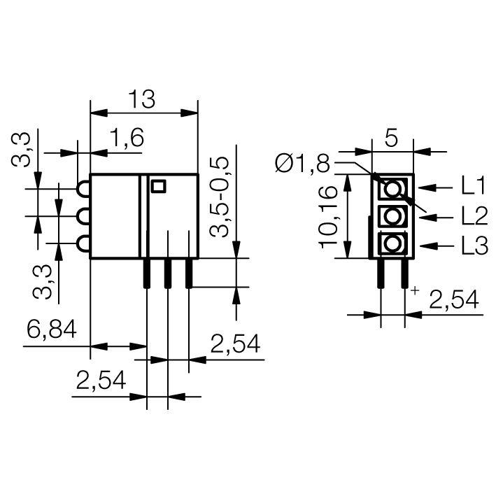 LED-Baustein mit 2 mm LED - plan