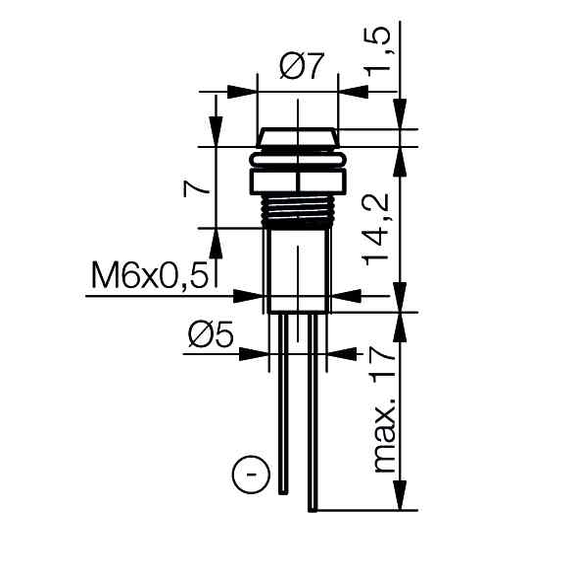 LED-Signalleuchte Ø6mm Innenreflektor - plan