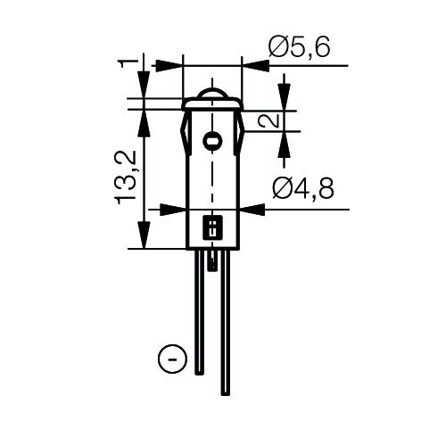 LED-Signalleuchte Ø5mm Außenreflektor PC schwarz - plan