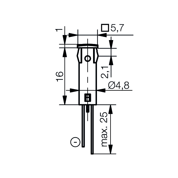 LED-Symbol-Leuchte Ø5mm Blendenkopf quadratisch - plan