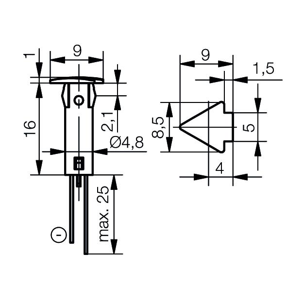 LED-Symbol-Leuchte Ø5mm Blendenkopf Pfeil - plan