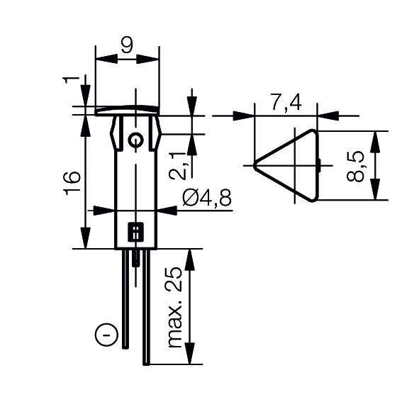 LED-Symbol-Leuchte Ø5mm Blendenkopf Dreieck - plan