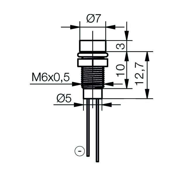 LED-Signalleuchte Ø6mm Innenreflektor Kopf zylindrisch - plan
