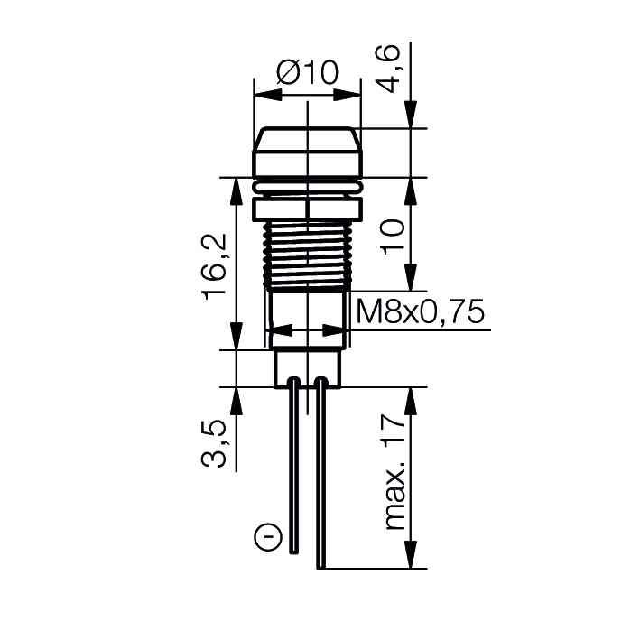 LED-Signalleuchte Ø8mm mit Blendenkopf - plan