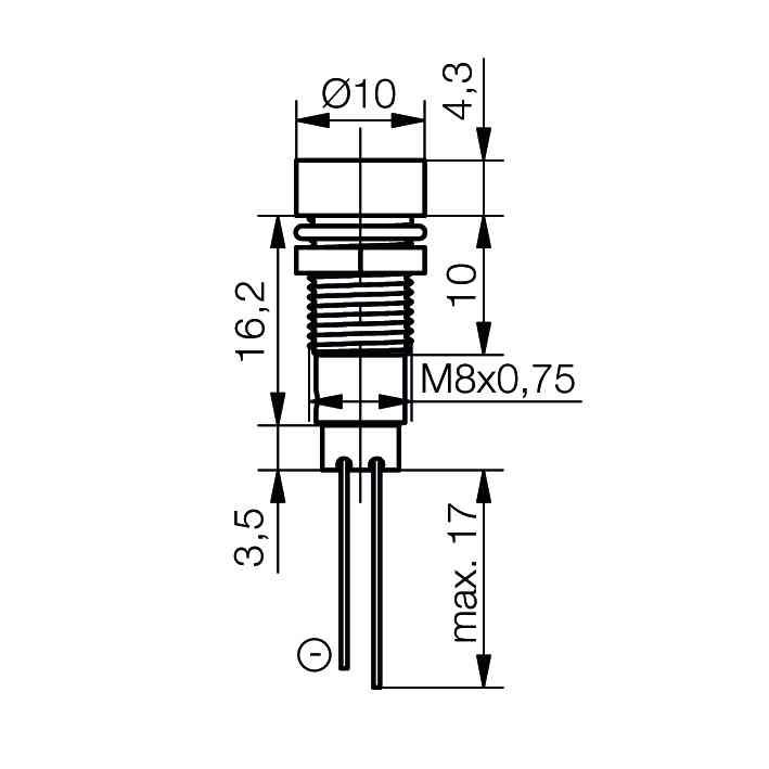 LED-Signalleuchte Ø8mm Innenreflektor Kopf zylindrisch mit Blendenplatte - plan