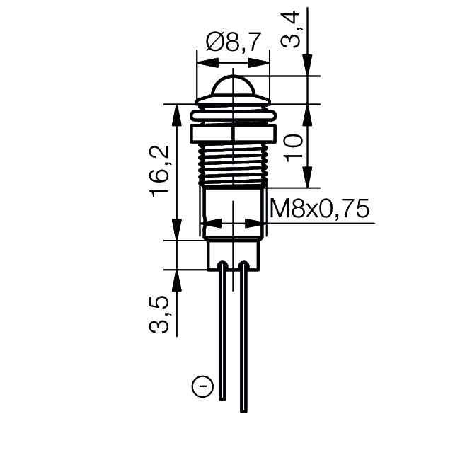 LED-Signalleuchte Ø8mm Außenreflektor PC schwarz - plan