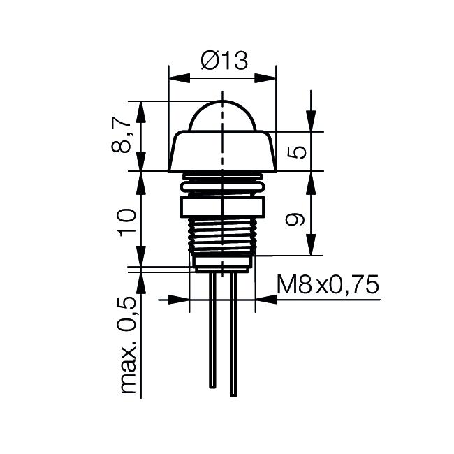 LED-Signalleuchte Ø8mm IP67 mit Glaskuppe - plan
