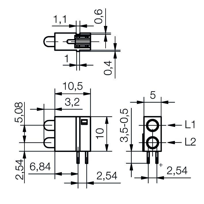 Leiterplattenanzeige mit 3 mm LED - plan