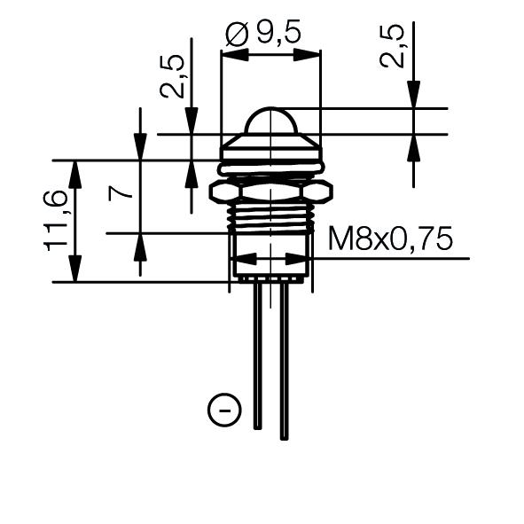 LED-Signalleuchte Ø8mm Außenreflektor - plan