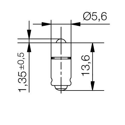 Single-LED-Lampe Ø5,6 mm Sockel MG5,7 Einweggleichrichtung - plan