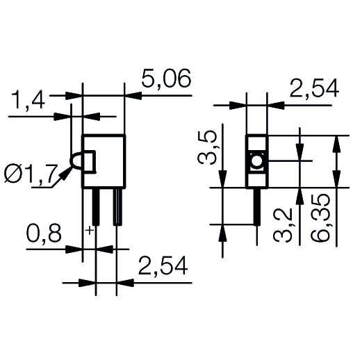 LED-Baustein mit Mini-LED mit und ohne Widerstand - plan