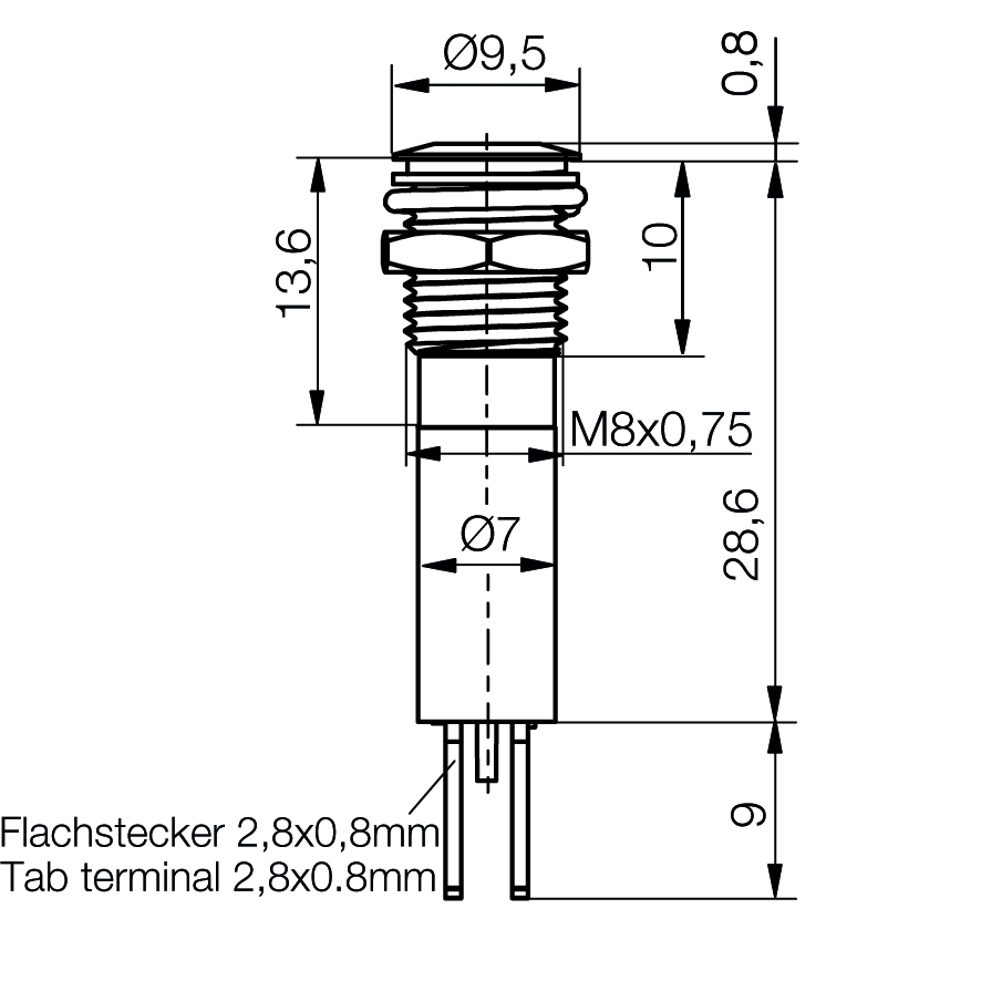 LED-Signalleuchte Ø8mm IP67 superflach mit Blende bipolar - plan