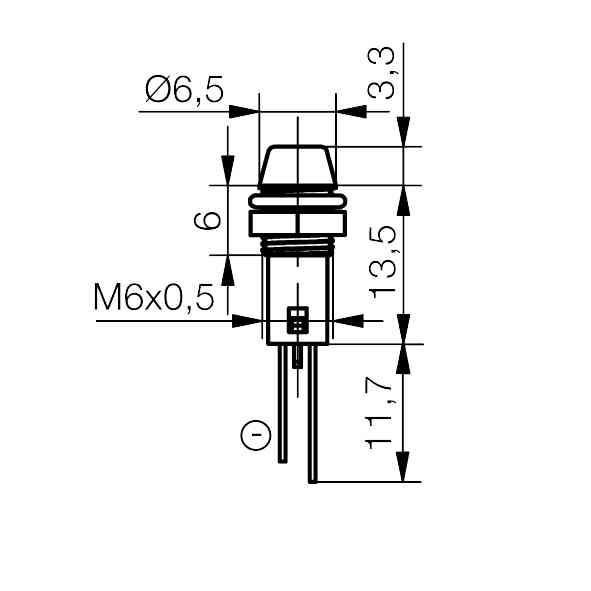 LED-Anzeigeleuchte Ø6mm mit Blendenkopf - plan