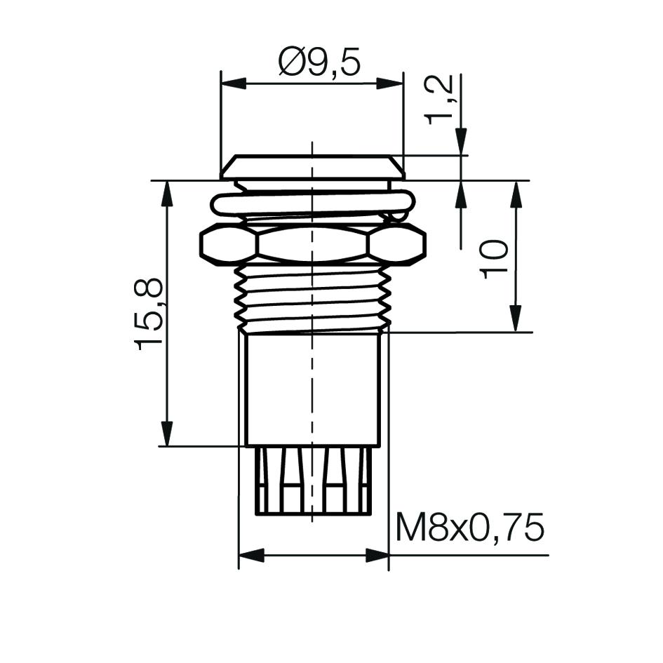 LED-Fassung für Ø5mm LEDs Innenreflektor, für Plankopf-LED - plan