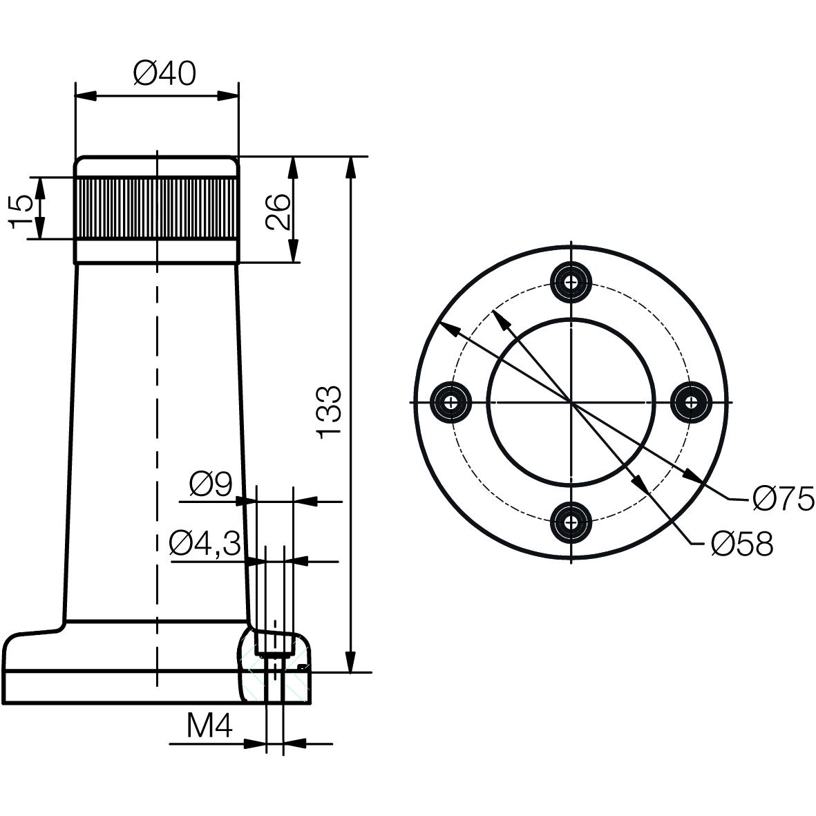 LED-Kompakt-Towerlampe mit Montagefuß RYG - plan