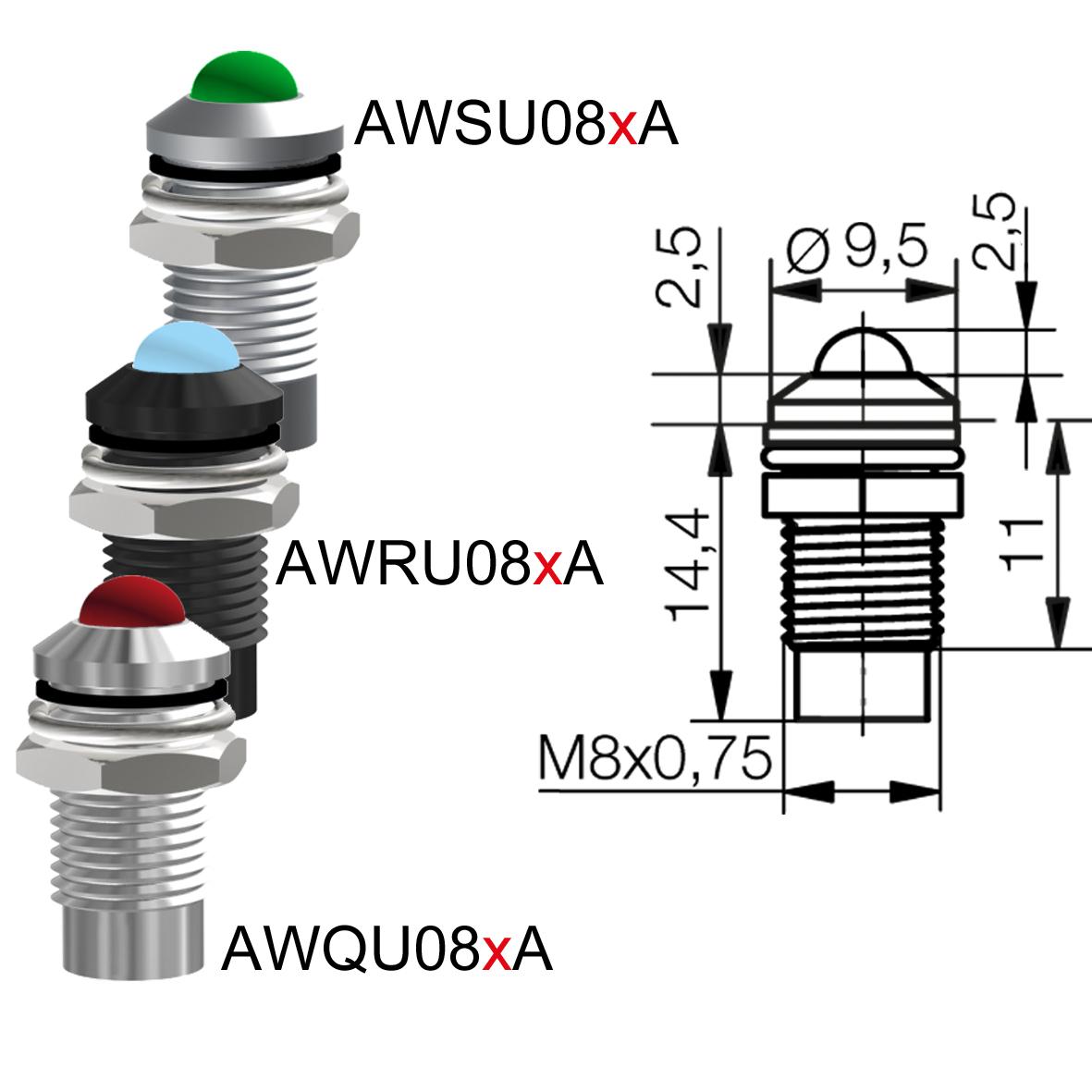 LED-Leuchtelement Ø8mm IP67 Innenreflektor / Außenreflektor